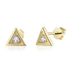 Solitaire Diamond Small Stud Earrings Yellow Gold
